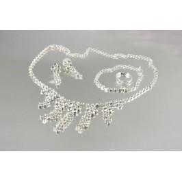 Štrasová souprava - náhrdelník, náušnice, náramek a prstýnek