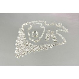 Štrasová souprava trojúhelník - náhrdelník, náušnice, náramek a prstýnek