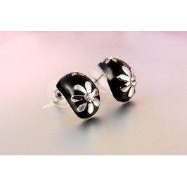 Náušnice s kytičkou černé