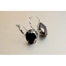 Náušnice černý krystal