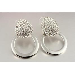 Náušnice kruhy s kamínky - stříbrné