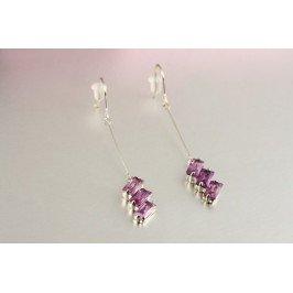 Náušnice s fialovými kamínky
