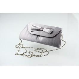 Společenská kabelka s mašlí - stříbrno-šedivá