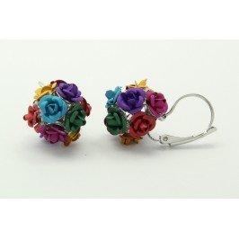 Náušnice růžičky multicolor stříbrné