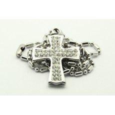 Náhrdelník z chirurgické oceli křížek bílý s kamínky