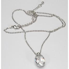 Náhrdelník stříbrný s bílým krystalem