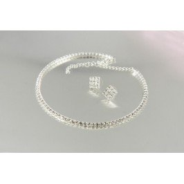 Štrasová sada - náhrdelník (obojek) a náušnice