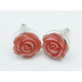 Náušnice růžičky - růžové